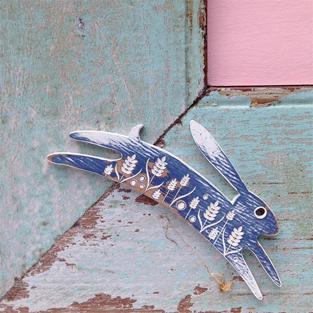 Shark Alley Painted Hare Brooch